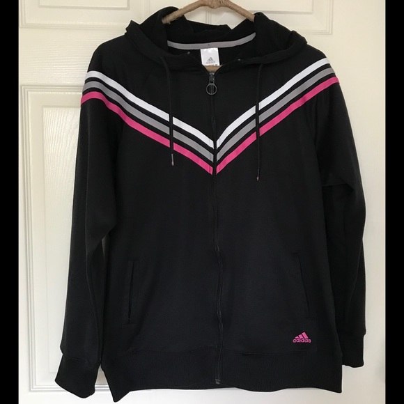 38a9a4baabb adidas Jackets   Blazers - Adidas black and pink stripe tracksuit jacket